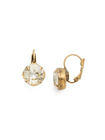 Cushion Cut French Wire Earrings in Antique Gold-tone Crystal Champagne