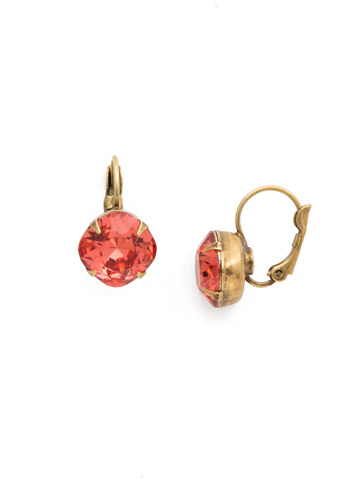 Cushion Cut French Wire Earrings in Antique Gold-tone Coral