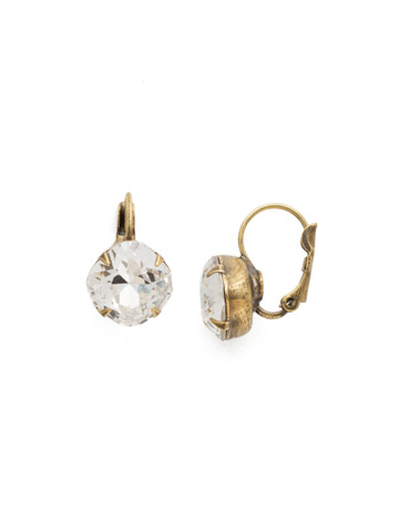 Cushion Cut French Wire Earrings in Antique Gold-tone Crystal
