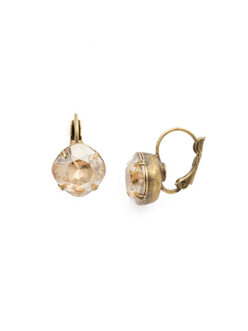 Cushion Cut French Wire Earrings in Antique Gold-tone Dark Champagne