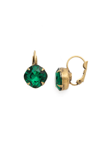 Cushion Cut French Wire Earrings in Antique Gold-tone Emerald