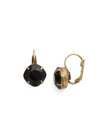 Cushion Cut French Wire Earrings in Antique Gold-tone Jet