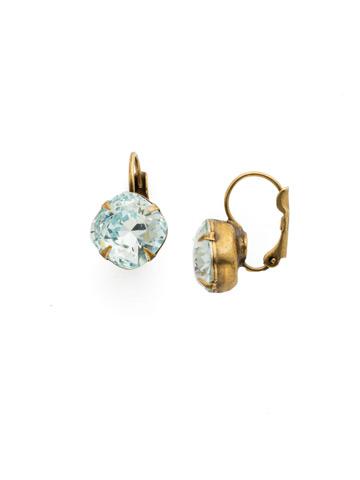 Cushion Cut French Wire Earrings in Antique Gold-tone Light Aqua