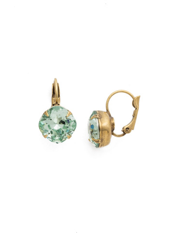 Cushion Cut French Wire Earrings in Antique Gold-tone Mint