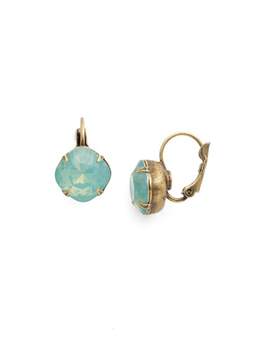 Cushion Cut French Wire Earrings in Antique Gold-tone Pacific Opal