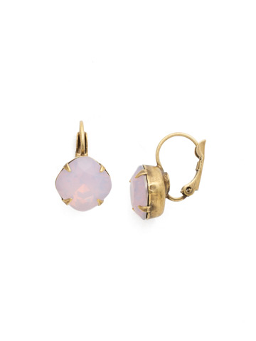 Cushion Cut French Wire Earrings in Antique Gold-tone Rose Water