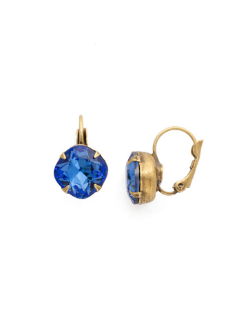 Cushion Cut French Wire Earrings in Antique Gold-tone Sapphire