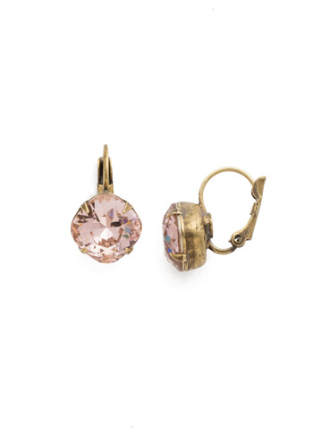 Cushion Cut French Wire Earrings in Antique Gold-tone Vintage Rose