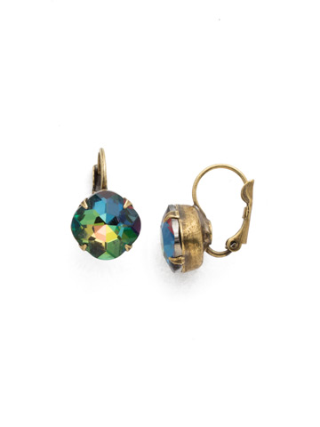 Cushion Cut French Wire Earrings in Antique Gold-tone Volcano