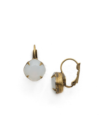 Cushion Cut French Wire Earrings in Antique Gold-tone White Opal
