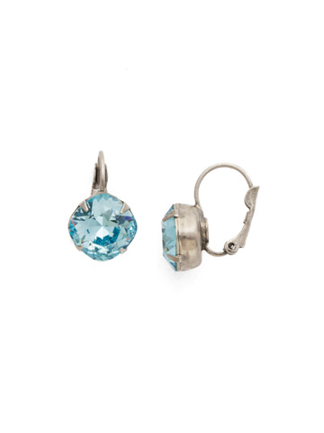 Cushion Cut French Wire Earrings in Antique Silver-tone Aquamarine