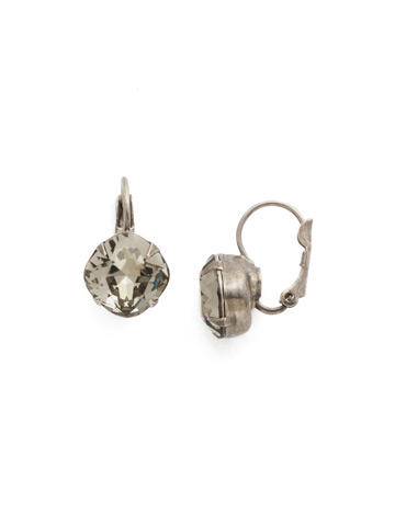 Cushion Cut French Wire Earrings in Antique Silver-tone Black Diamond