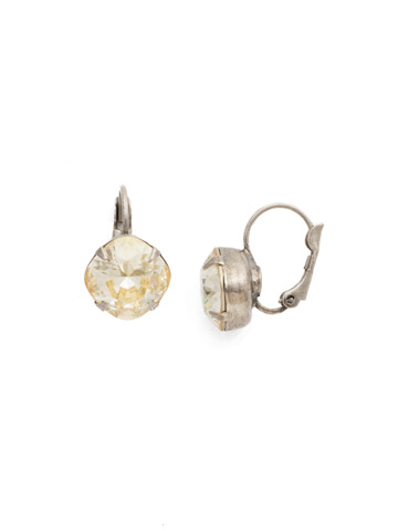 Cushion Cut French Wire Earrings in Antique Silver-tone Crystal Champagne