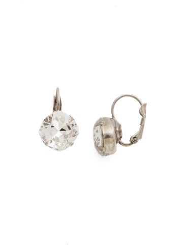 Cushion Cut French Wire Earrings in Antique Silver-tone Crystal