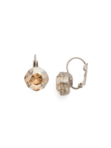 Cushion Cut French Wire Earrings in Antique Silver-tone Dark Champagne