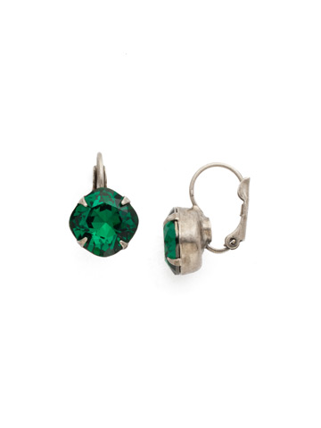 Cushion Cut French Wire Earrings in Antique Silver-tone Emerald