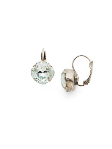 Cushion Cut French Wire Earrings in Antique Silver-tone Light Aqua
