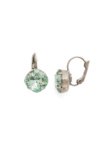 Cushion Cut French Wire Earrings in Antique Silver-tone Mint
