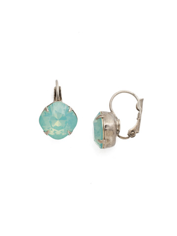 Cushion Cut French Wire Earrings in Antique Silver-tone Pacific Opal