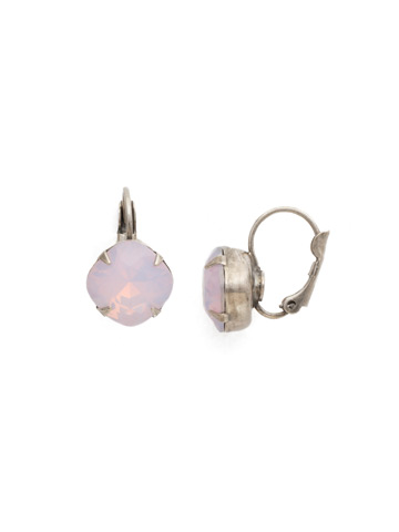 Cushion Cut French Wire Earrings in Antique Silver-tone Rose Water