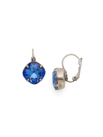 Cushion Cut French Wire Earrings in Antique Silver-tone Sapphire