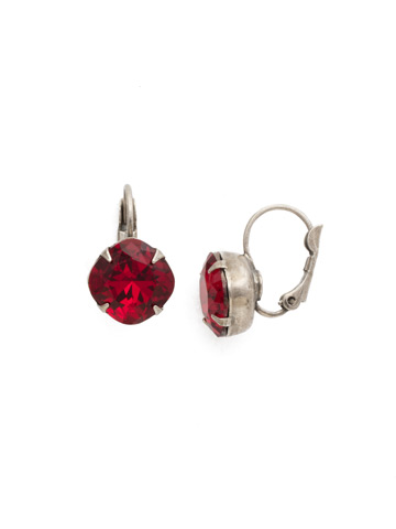 Cushion Cut French Wire Earrings in Antique Silver-tone Siam