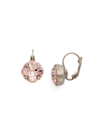 Cushion Cut French Wire Earrings in Antique Silver-tone Vintage Rose