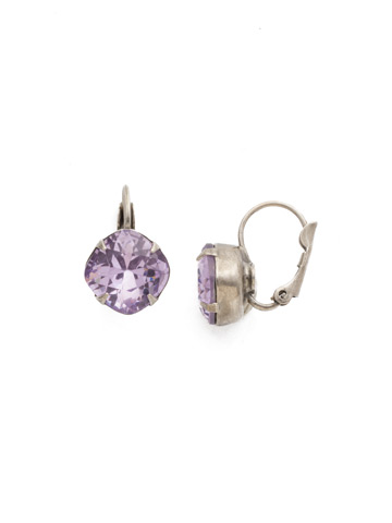 Cushion Cut French Wire Earrings in Antique Silver-tone Violet