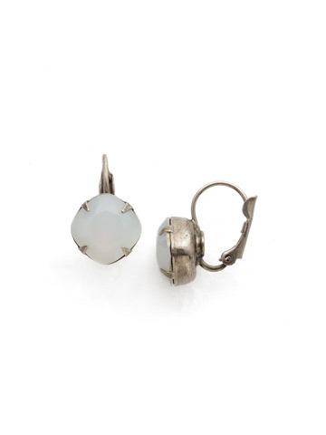 Cushion Cut French Wire Earrings in Antique Silver-tone White Opal