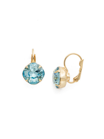 Cushion Cut French Wire Earrings in Bright Gold-tone Aquamarine