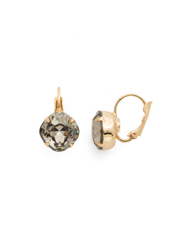 Cushion Cut French Wire Earrings in Bright Gold-tone Black Diamond