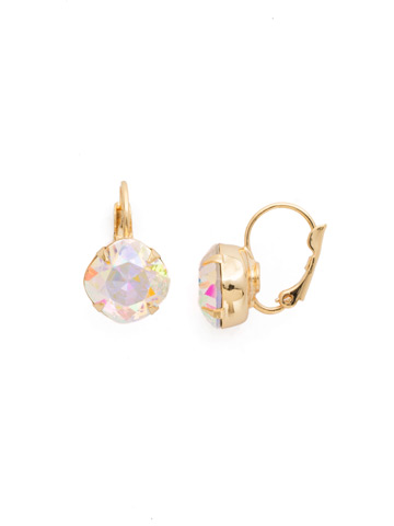 Cushion Cut French Wire Earrings in Bright Gold-tone Crystal Aurora Borealis