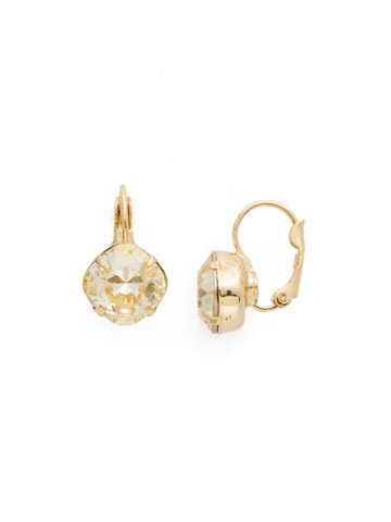 Cushion Cut French Wire Earrings in Bright Gold-tone Crystal Champagne