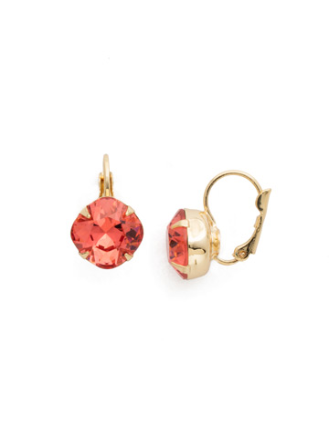 Cushion Cut French Wire Earrings in Bright Gold-tone Coral