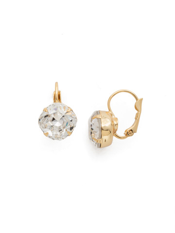 Cushion Cut French Wire Earrings in Bright Gold-tone Crystal