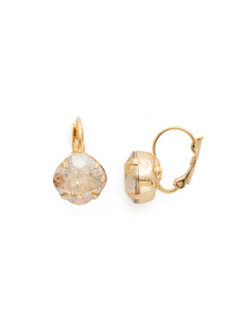 Cushion Cut French Wire Earrings in Bright Gold-tone Dark Champagne