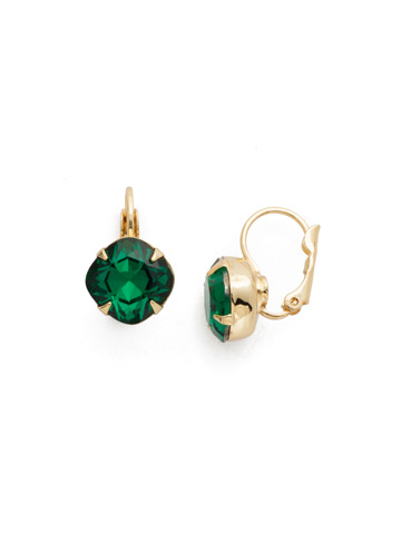 Cushion Cut French Wire Earrings in Bright Gold-tone Emerald