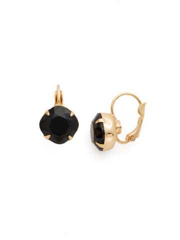 Cushion Cut French Wire Earrings in Bright Gold-tone Jet
