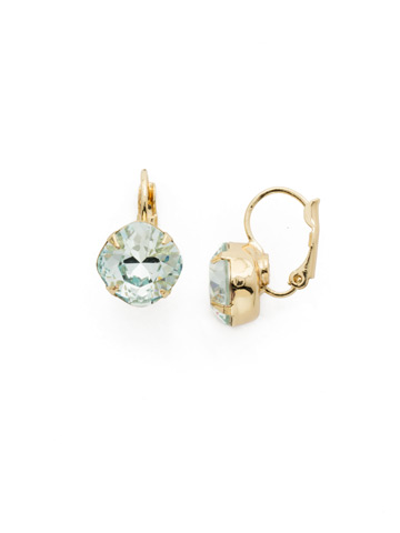 Cushion Cut French Wire Earrings in Bright Gold-tone Light Aqua