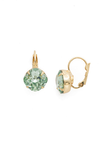 Cushion Cut French Wire Earrings in Bright Gold-tone Mint