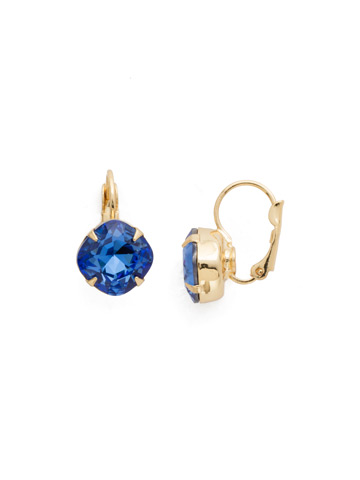 Cushion Cut French Wire Earrings in Bright Gold-tone Sapphire