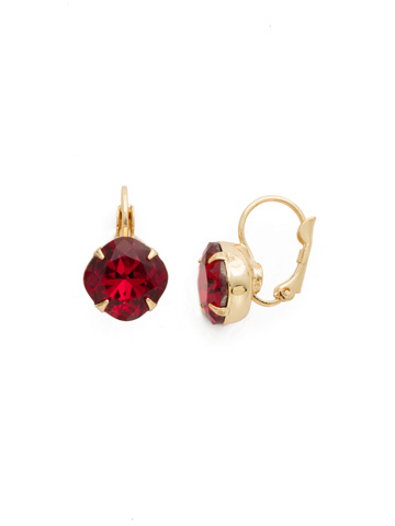 Cushion Cut French Wire Earrings in Bright Gold-tone Siam
