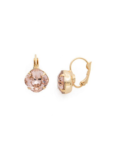 Cushion Cut French Wire Earrings in Bright Gold-tone Vintage Rose