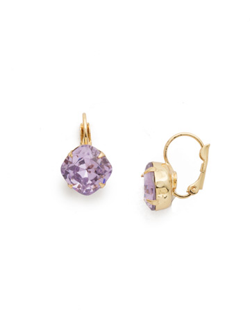 Cushion Cut French Wire Earrings in Bright Gold-tone Violet