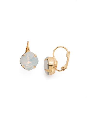 Cushion Cut French Wire Earrings in Bright Gold-tone White Opal
