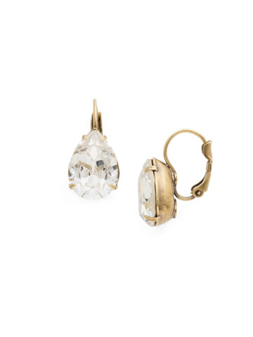 Dew Drop Earring in Antique Gold-tone White Magnolia