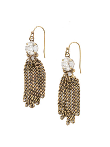 Chain Gang Earring in Antique Gold-tone Crystal