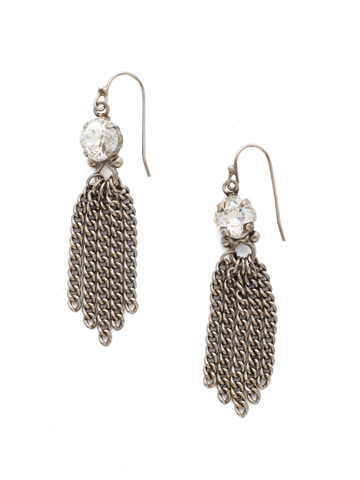 Chain Gang Earring in Antique Silver-tone Crystal