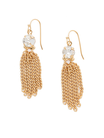 Chain Gang Earring in Bright Gold-tone Crystal