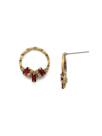 Mini Haute Hammered Post Earring in Antique Gold-tone Mighty Maroon